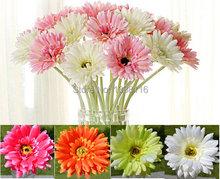 10pcs/lot Artificial Flowers Silk Flowers Artificial Gerberas Flowers for Home Decoration Wedding Bouquets (no vase)(China (Mainland))