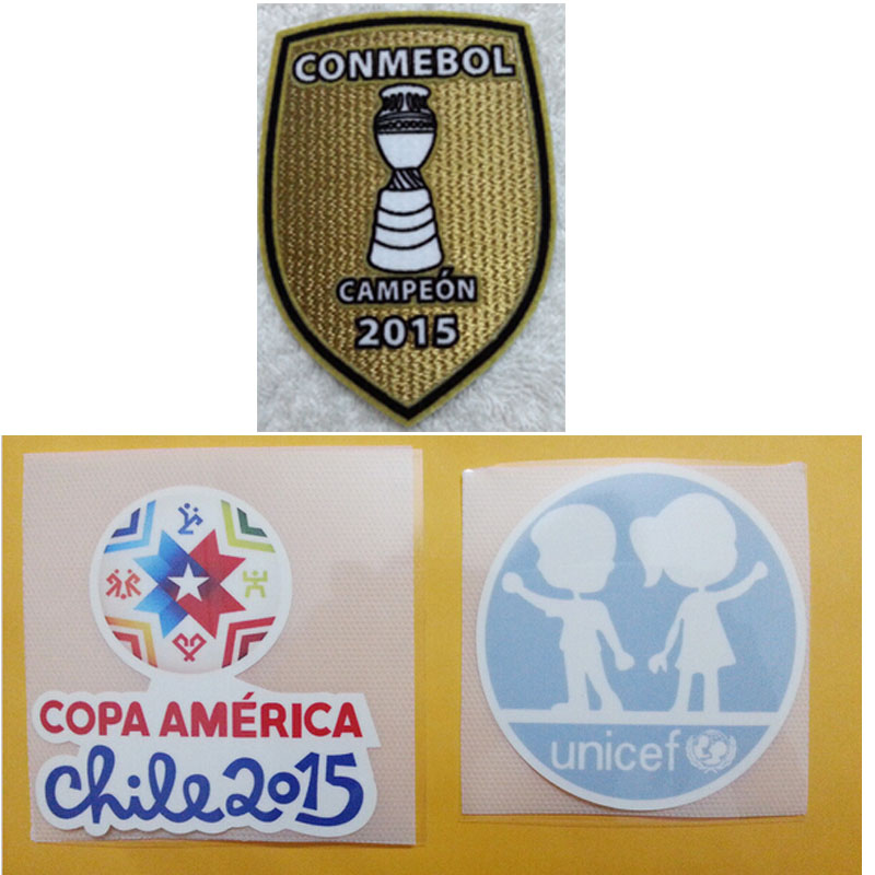 2015 3D Embroidery Chile Conmebol Patch +Copa America Patch +Unicef Patch Campeon 2015 Champions Soccer Patch(China (Mainland))
