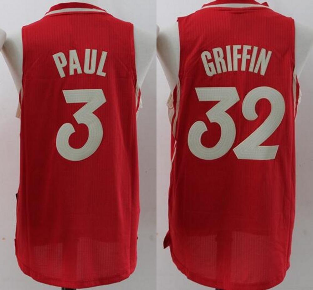 Men's 2016 Christmas version 32 blake griffin jersey, Paul 3 size S~XXL 3 chris paul jersey,100% stitched basketball jersey(China (Mainland))