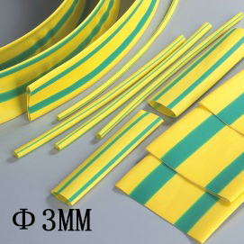 3MM yellow and green doulbe color Heat Shrink Tubes Shrinkable Tubing Insulation Sleeving (1Meter/lot)<br><br>Aliexpress