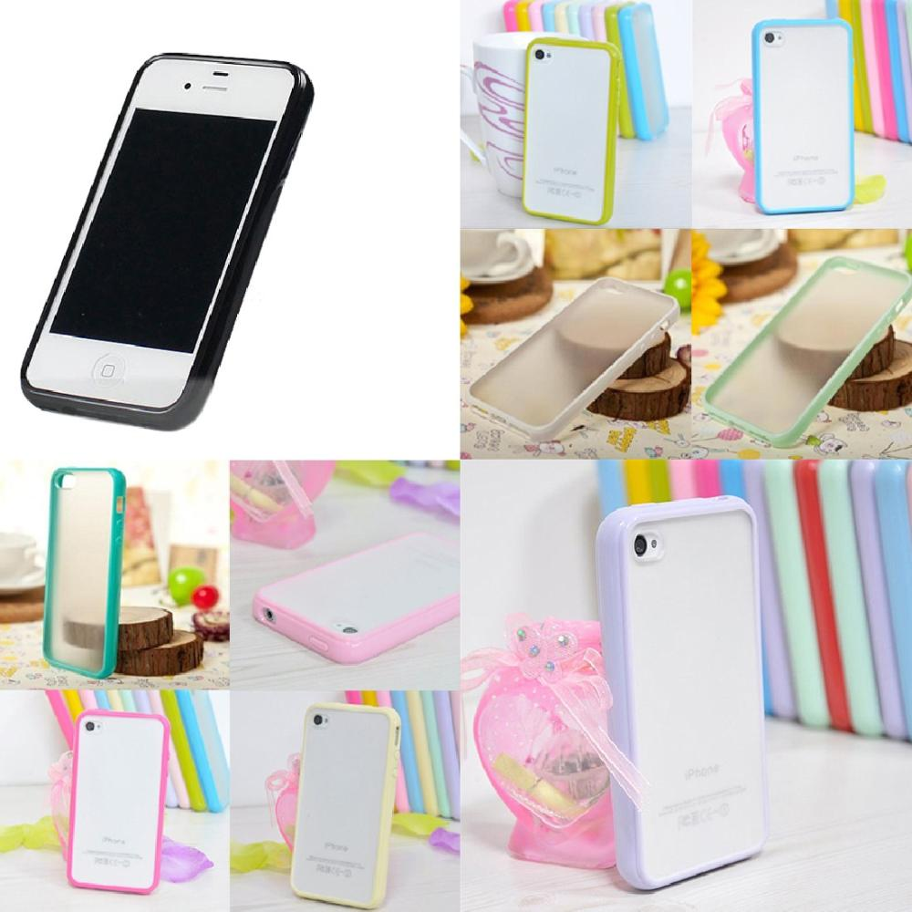 Free shipping Matte Semi-Transparent Hard TPU+PC Back Bumper Rear Case Cover for iphone 4 4S(China (Mainland))