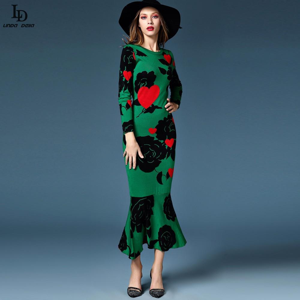 2015 Winter Womens new fashion ethnic style wool knit dress temperament flowers retro mermaid dressОдежда и ак�е��уары<br><br><br>Aliexpress
