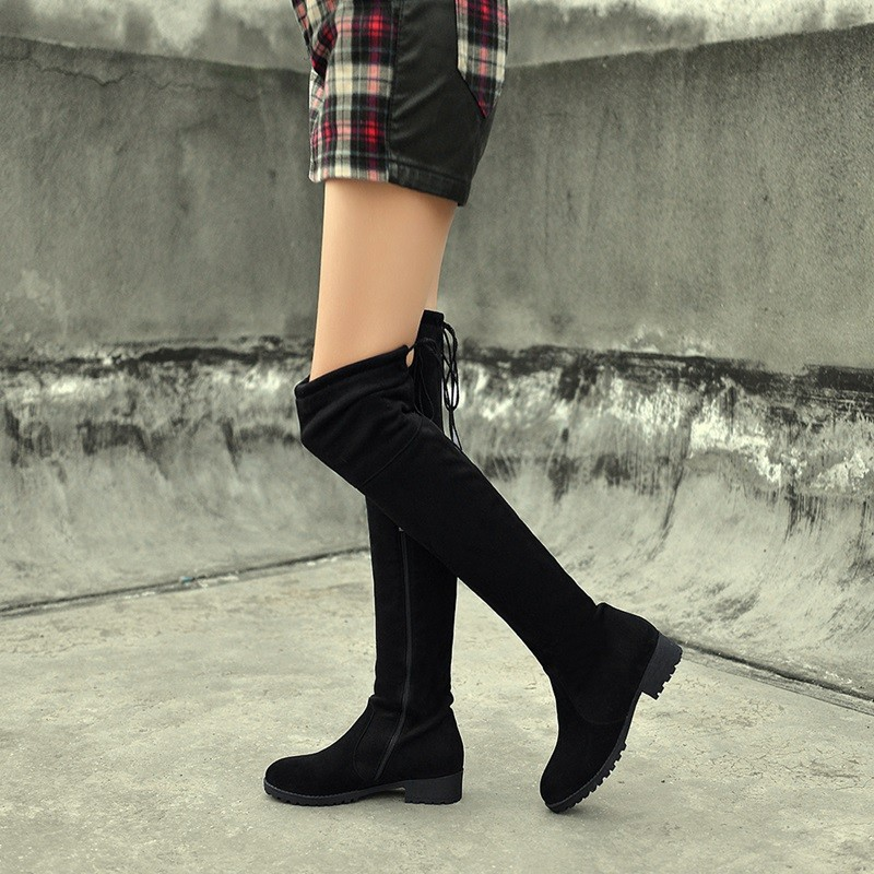 Real Sheepskin Side zipper  Boots Fashion Over The Knee Boots 2015 Women Winter Boots Low-Heel Casual Knight Boots Size 33-43