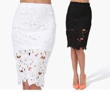 2016 new Women Spring Summer Euro Style Cutout Lace Skirts Long Plus size Vintage Midi Skirts for Women High Waist Pencil Skirt