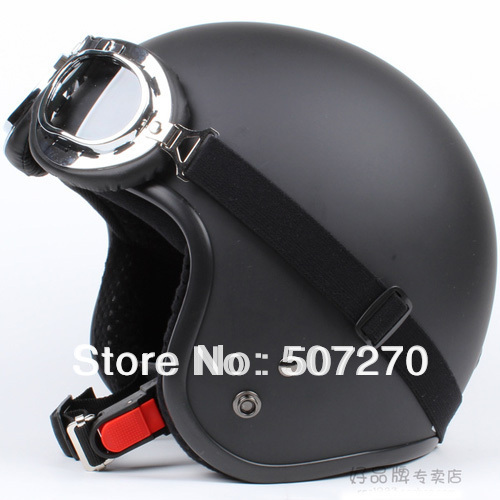 """E.02 3/4 Taiwan """" SYC """" ABS Scooter Casco Open Face Vespa Motorcycle Full Matte Black Helmet & UV Goggles & Visor For Summer(China (Mainland))"""