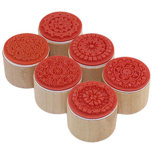 6 шт. один лот 3 см x 3 см x 2.5 см желание штамп деревянный штамп цветочный узор удачи марки