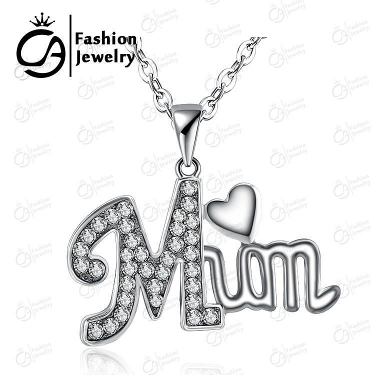Fashion MUM Heart Pendant Necklace Rhinestone Women Girls Mother day Gift Jewelry 2,#LN947 - OLA JEWELRY store