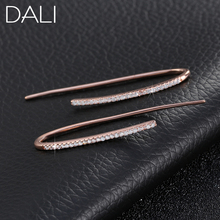 DALI Wholesale Lovely Crystal Silver Dangle Earring Trendy Line Earring Hooks Micro Zircon Paved Jewelry DAE012(China (Mainland))