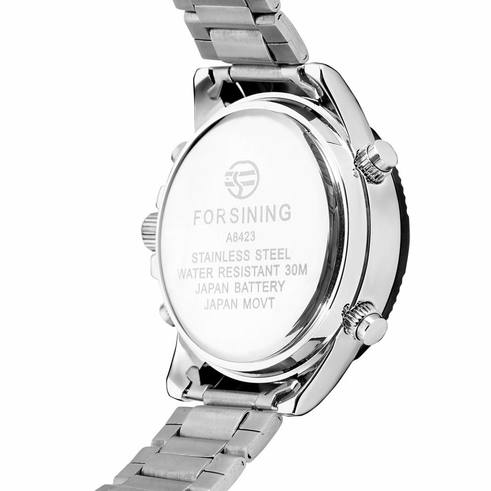 Forsining мужские Часы Vogue Хронограф Будильник Функция СВЕТОДИОДНЫЙ Дисплей Авто Дата Онлайн Спорт Наручные Часы Цвет BlackFSGE8084Q4T3