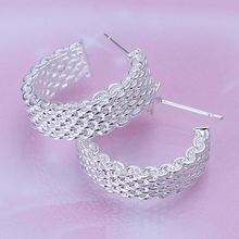 Free Shipping Fashion Design silver earrings Weaved Web stud brincos floating charms(China (Mainland))