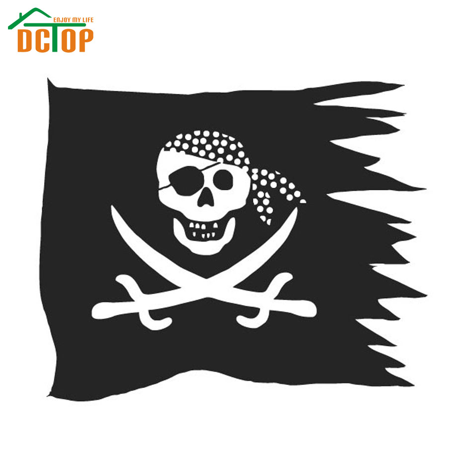 DCTOP Double Sword Skull Pirate Flag Wall Sticker Kids Room Home Decor Vinyl Removable Wall Decals Nursery(China (Mainland))