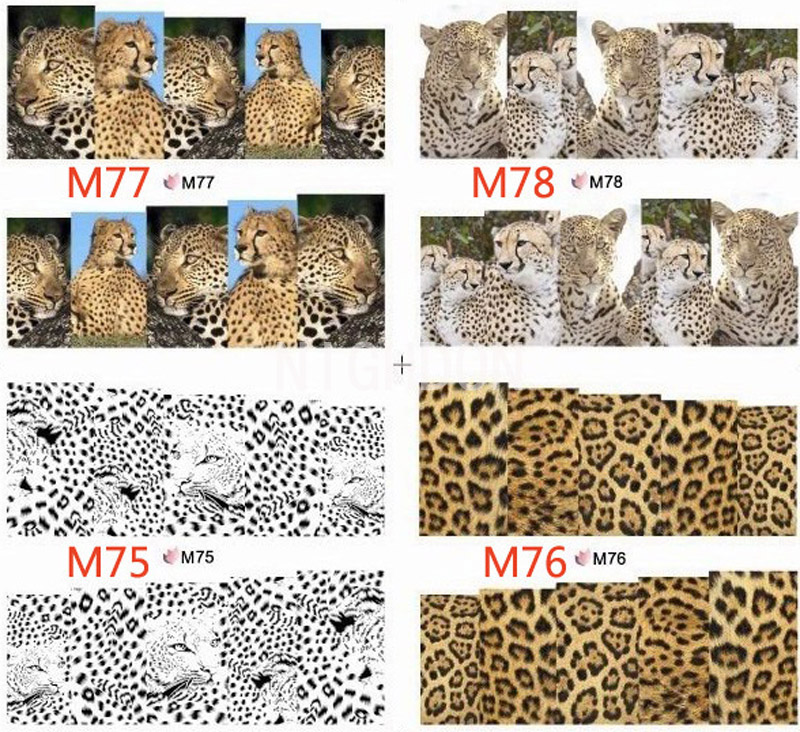 Full Cover Wild Style Nail Art Sticker Leopard Tiger Snake Decals Nail Decorations Sticker Tips Water Transfer Design WNA0M00(China (Mainland))
