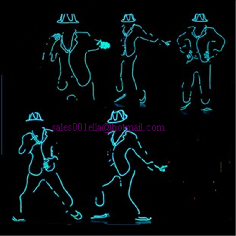 Wholesale 5pcs/set Led Luminous Flashing Growing Light Robot Suit EL Wire Costume,Cap,Gloves, And Shoes MJ Style For Show,Club(China (Mainland))