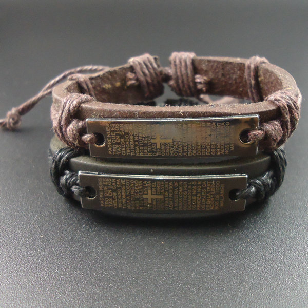 European and American retro male and female couple cross scripture rope woven leather Men Bracelet jewelry
