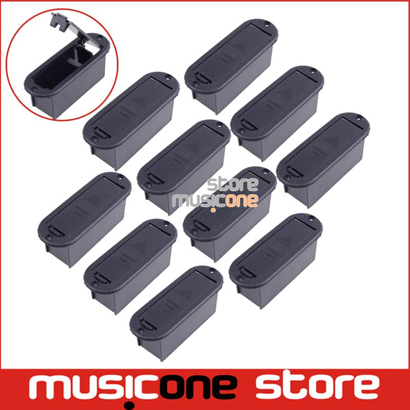10pcs CHEAP Quality 9V Battery Box 81.5MM*29.5MM Case for Active Guitar and Bass Pickup platic black color Free shipping(China (Mainland))