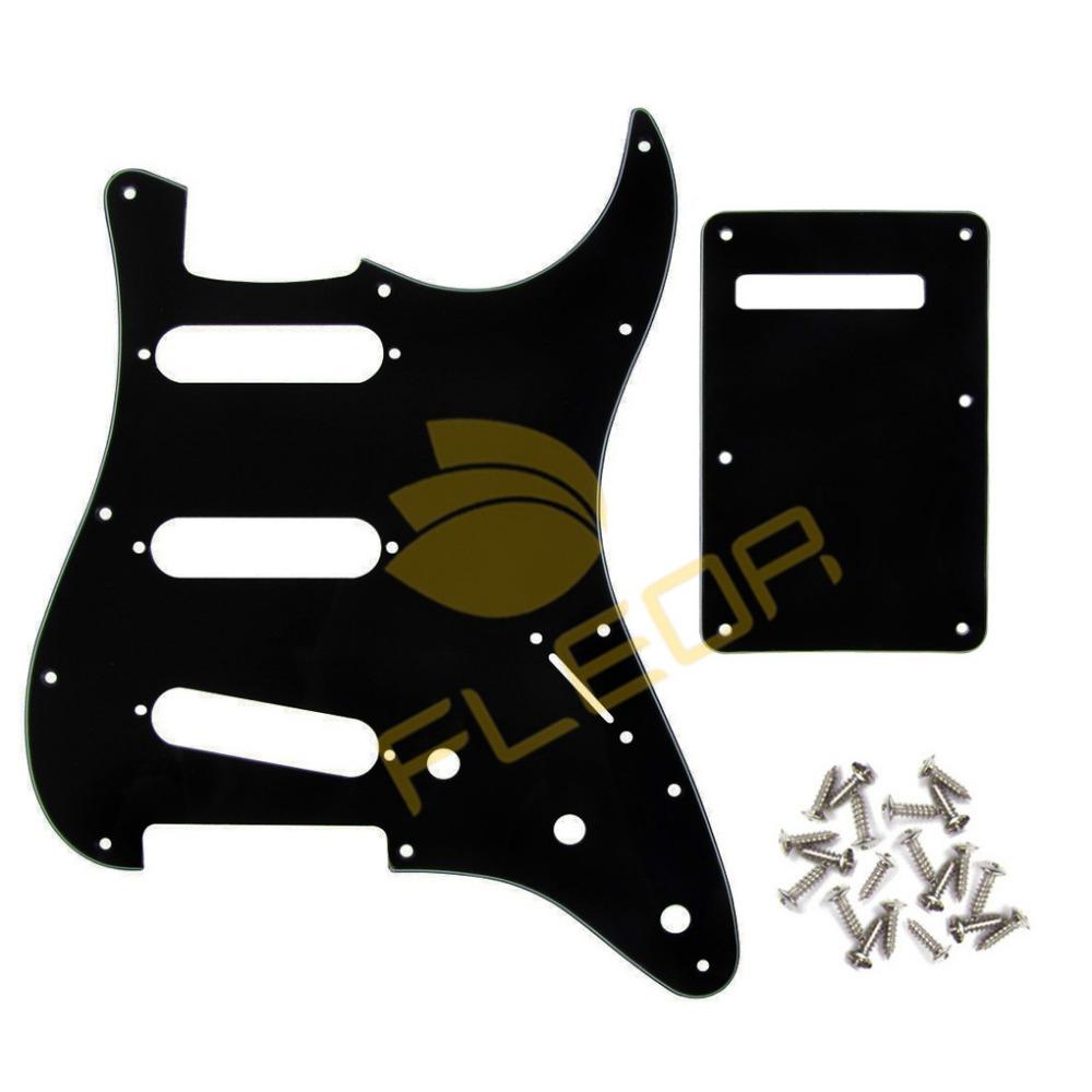 NEW 1set 3Ply 11 Holes Strat Guitar Pickguard SSS & Guitar Back Plate Tremolor Cover & Screws(China (Mainland))