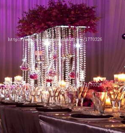 Free shipment 5PCS/lots crystal wedding centerpiece flower stand 80cm tall/25cmX100cm long(China (Mainland))