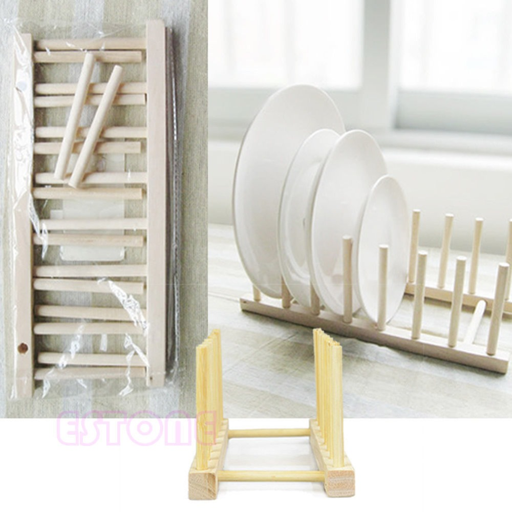 New for Wooden Drainer Plate Stand Wood Dish Rack 7 Pots Cups Display Holder Kitchen(China (Mainland))