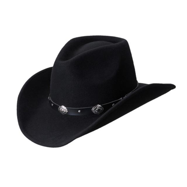 Мужская стандартный хондо корона черный шерсть ковбойская шляпа + бесплатная доставка
