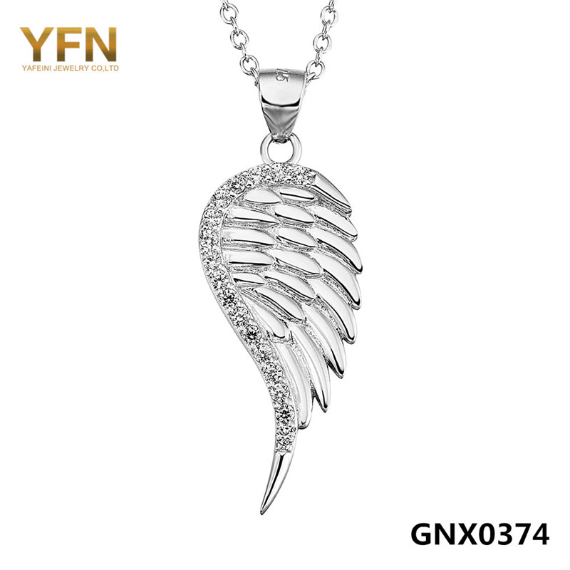 "Angel Wings Jewelry Necklace Wholesale 925 Sterling Silver Jewelry Cubic Zirconia Pendant Necklace ""Best Wishes"" GNX0374-B(China (Mainland))"