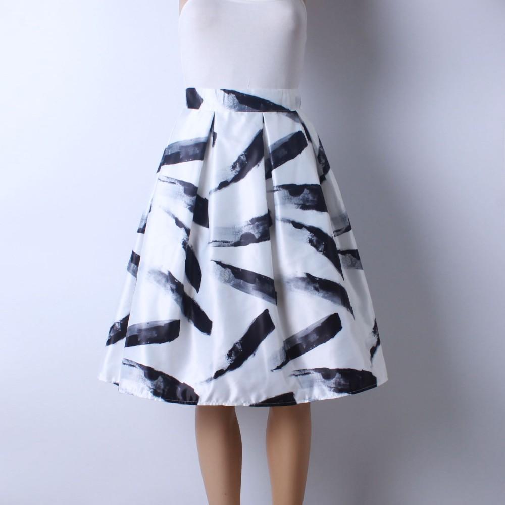 HTB1EZlfMXXXXXcJXXXXq6xXFXXXv - GOKIC 2017 Summer Women Vintage Retro Satin Floral Pleated Skirts Audrey Hepburn Style High Waist A-Line tutu Midi Skirt