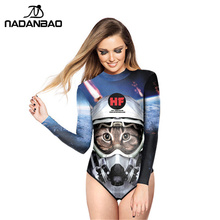 New Fashion Bodysuit Bathing Suit Space Cats Printed Women Swimwear Loog Sleeve Zippered One Piece Swimsuit Y02011