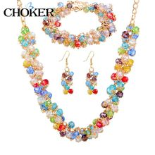 Crystal Jewelry Sets Nigerian Wedding African Beads Earring Bridal Imitation diamond Bracelets Gold Necklaces For Women 2016(China (Mainland))