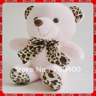 """Wholesale & Free Shipping! 7"""" 4-coloured sitting teddy bear with leopard print tie,paw bear,good soft toy for baby gifts"""