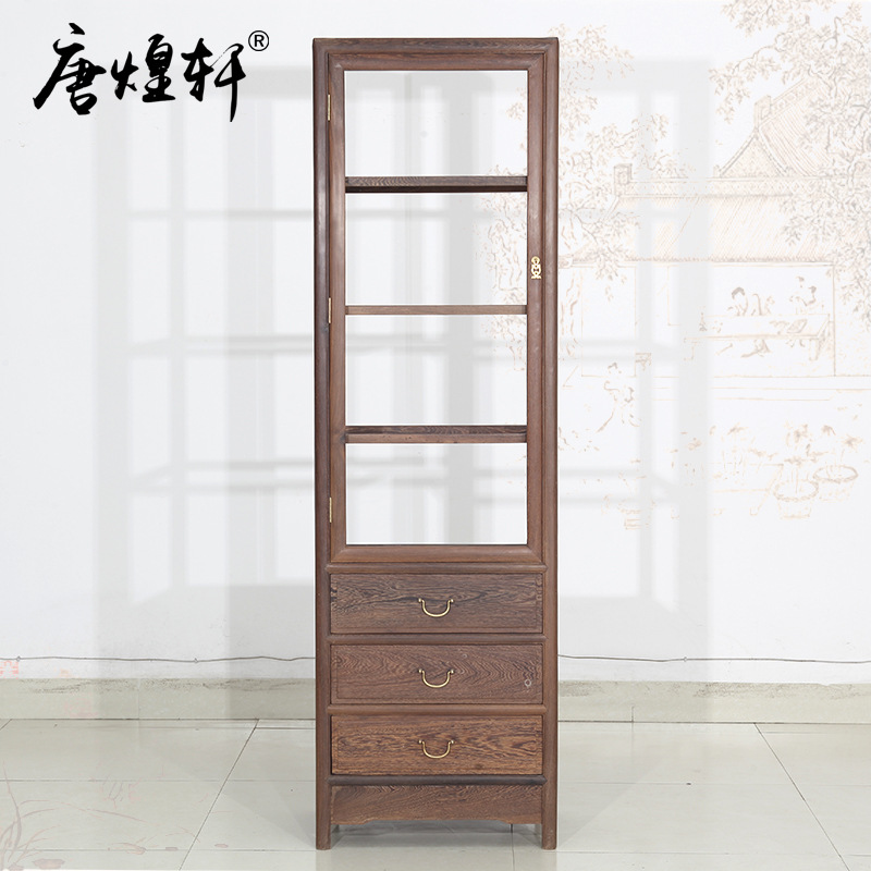 Mahogany Furniture Wenge Wood Single Door Glass Wine Cabinet Living Room Display Cabinet