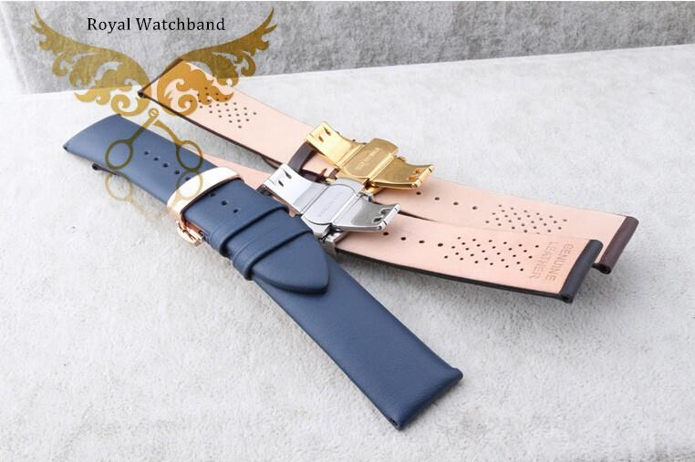 22 мм новых людей 100% натуральная кожа часы ремень из розового золота металла бабочка Depolyment застежка пряжка