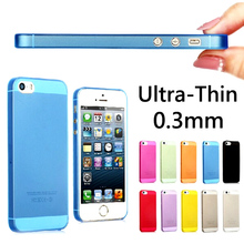 Hot Sale 0.3mm Slim Ultra Thin Colorful Translucent Design Matte Back Cover phone Case For iphone 5 5s cases multicolor optional