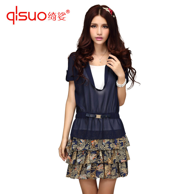 High quality plus size clothing fashion 2 piece set slim chiffon patchwork pleated skirt one-piece dress