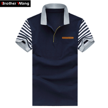 Men's Polo Shirt Style Summer New Men's High-quality Polo Shirt Fashion Leisure Stripe Stitching Cotton Brand POLO Men M-5XL(China (Mainland))