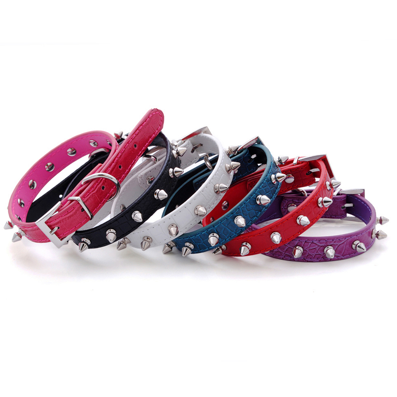 6 Colors Pet Products Alligator Pattern PU Leather Bullet Rivets Studded for Small and Medium Dogs Walking Trainning Dog Collars(China (Mainland))