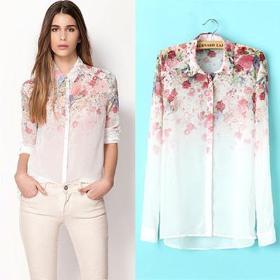 2015 New Chiffon Shirts Fashion Flowers Printed Women Blouses Long Sleeve Shirts For Women Blouses Spring S M L(China (Mainland))