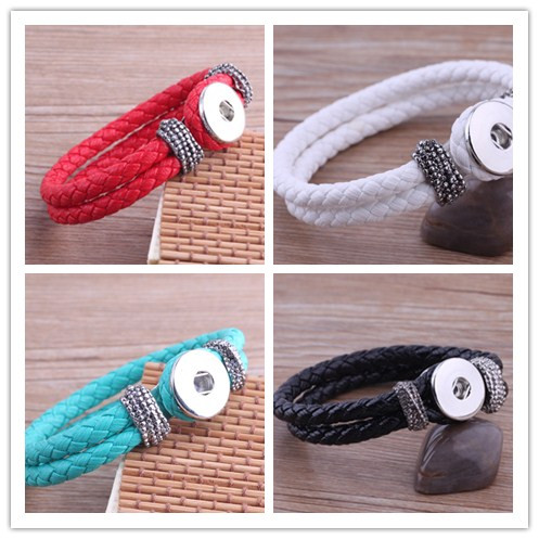 Mix color high quality Leather snap Bracelets Fit Snaps 18mm Snap Buttons Free Shipping giger snap jewelry<br><br>Aliexpress