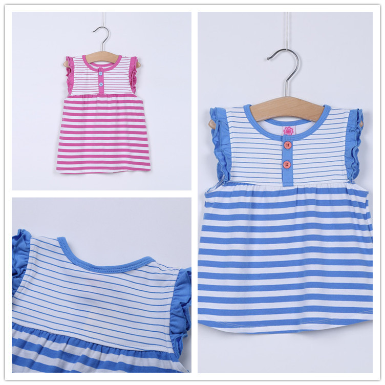 Retail! Girls Summer Dresses 2015 Outfit Cute Toddler Girl Dress Clothes Casual Fancy Lace Sleeves Girl Dress Stripe Dresses(China (Mainland))