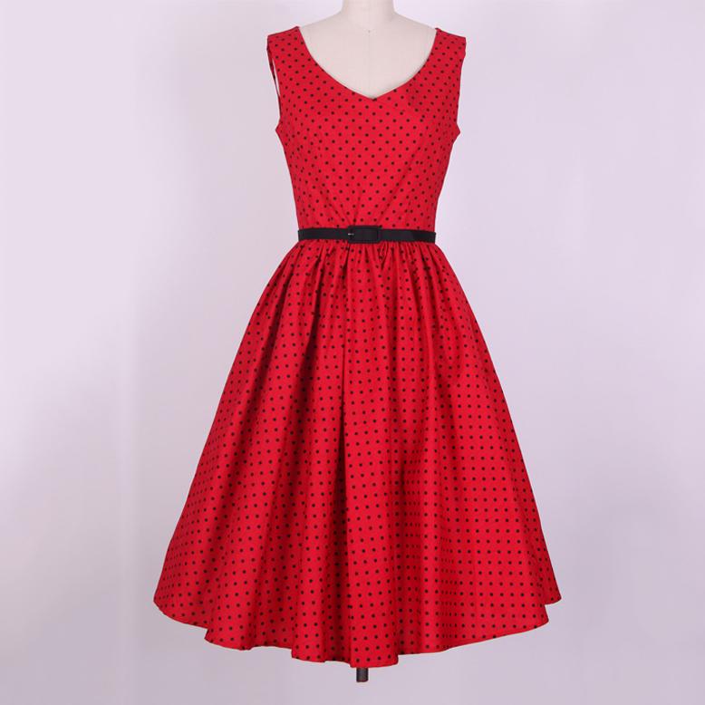 Black Polka Dot Dress High Waist V-neck 50s 60s Swing Vintage Dress Audrey Hepburn Party Dress Red Ball Gown Dress With Belt(China (Mainland))