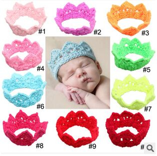 1PCS Free Shipping New Fashion Hot Infant Baby Toddler Crochet Crown Headband Soft Headwear Hair Band Accessories free shipping(China (Mainland))