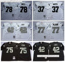 Hot Selling 75 Howie Long Throwback 37 Lester Hayes 42 Ronnie Lott 77 Lyle Alzado 78 Shell Retro Home Road Away White(China (Mainland))