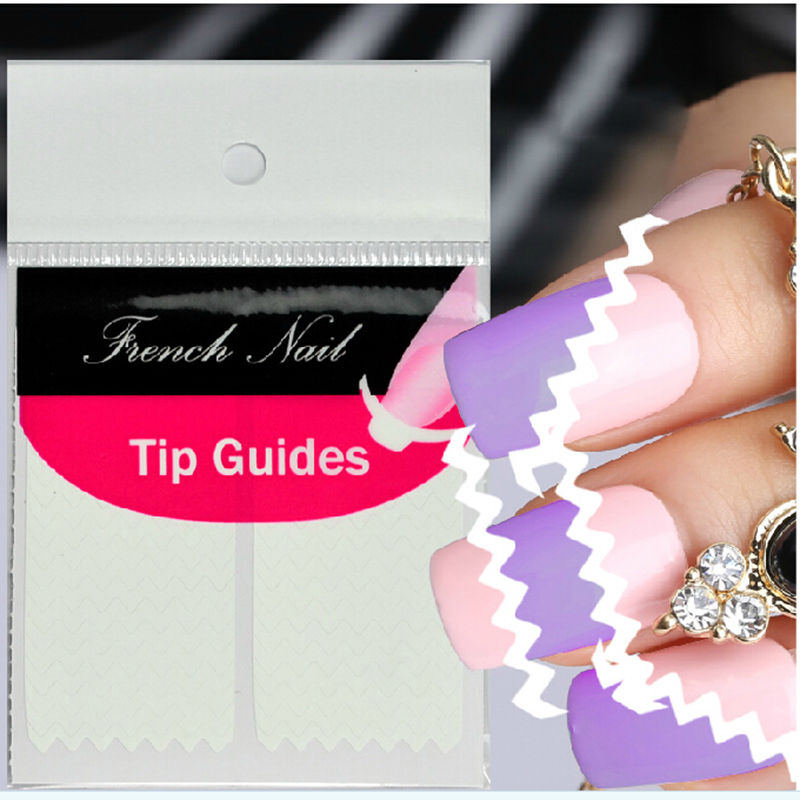 Designer 2 Sheet Creative French Manicure Wave Edge Tip Guides Vinyls Nail Art Sticker Beauty Accessories(China (Mainland))