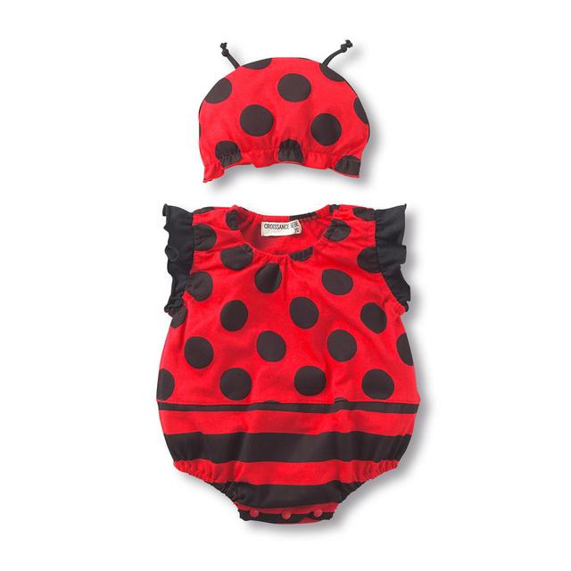Лето мальчики-младенцы одежда плодоовощи девочка ползунки милый пчёлы арбуз божья коровка комбинезон + шляпа комплект