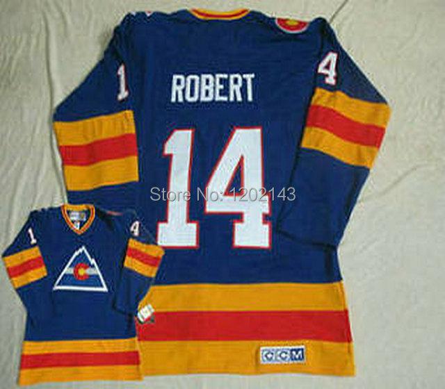 top quality hockey jerseys colorado avalanche 14 Rene Robert 1980 CCM vintage throwback blue jersey,mix order,sewn logos