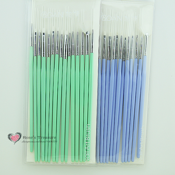 Slim hot 15 pcs nail art design brush set painting pen for Set painting techniques