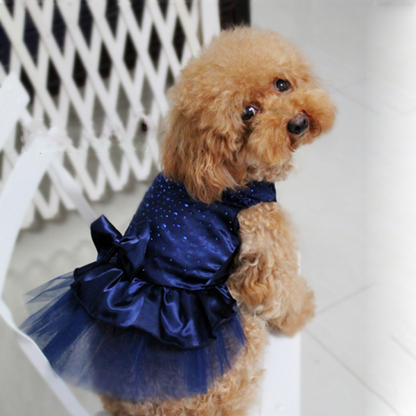 FreeShipping Dog Puppy Wedding Party Lace Skirt Clothes Bow Tutu Princess Dress Pet Apparel DropShipping(China (Mainland))