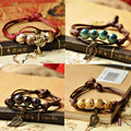Fashion ethnic style high quality original ceramic bronze adjustable handmade porcelain beads rope anklets for women 020