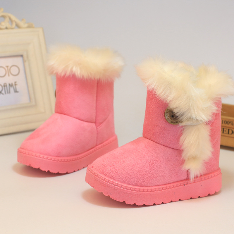 Buckle Winter Boots Girls Fashion Boot For Kids Rabbit Hair Soft Nap Boys Buckle Winter Boots Ankle New Boot For Kids Beige(China (Mainland))