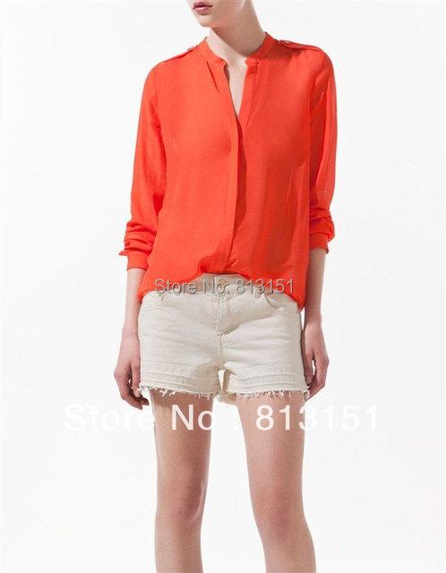 2015 New Women's Orange Blue Long Sleeve Shoulder Knot Chiffon Blouses Shirt Top