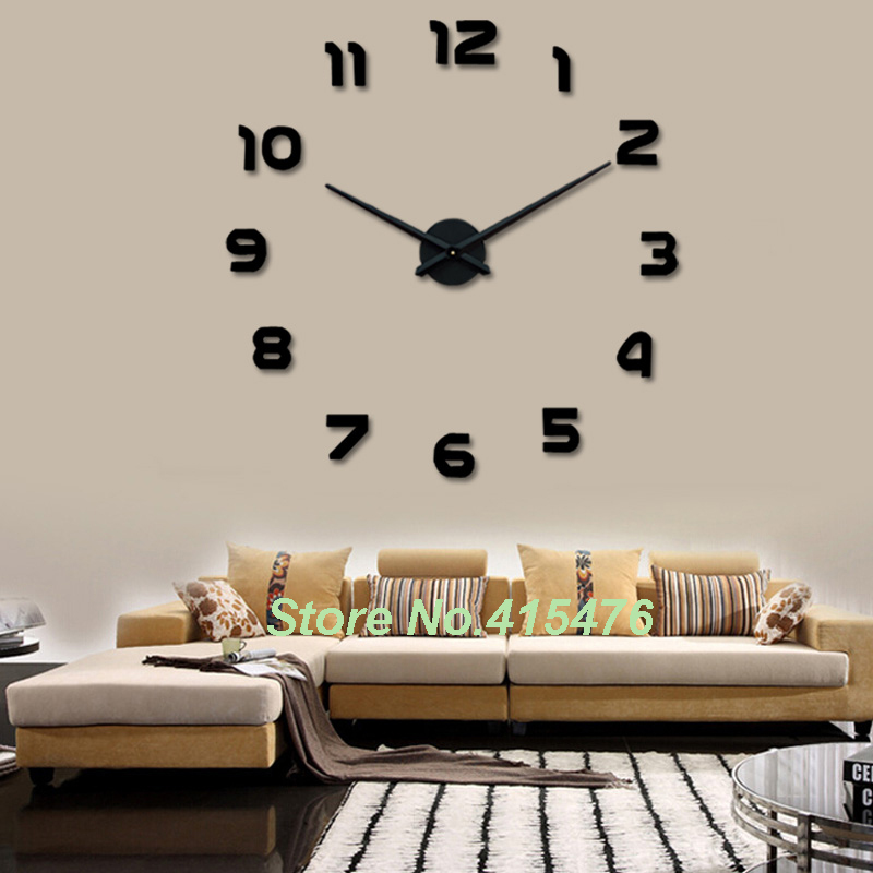 Large wall clock 3d sticker big watch home decor unique for Home decor stuff online