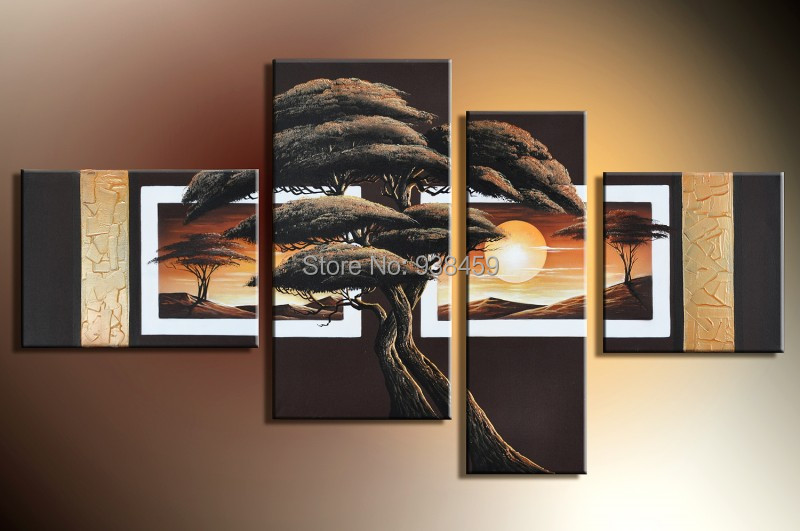 painted framed 4 multi panel canvas wall art tree painting huge wall